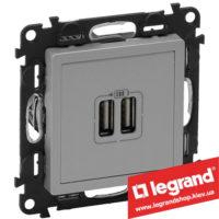 Розетка USB Valena Life для зарядки двойная 753612 (алюминий)