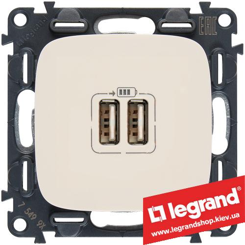 Розетка USB Valena Allure для зарядки двойная 754996 (слоновая кость)