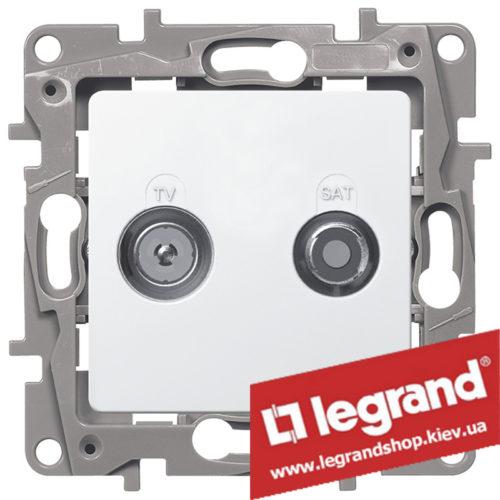 Розетка TV+SAT Legrand Etika на 2 кабеля 672257 (белая)
