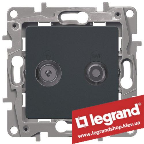Розетка TV+SAT Legrand Etika на 2 кабеля 672657 (антрацит)