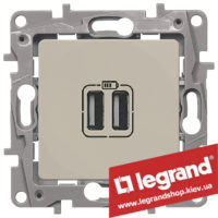 672394 Розетка USB Legrand Etika для зарядки двойная (слоновая кость)