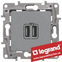 672494 Розетка USB Legrand Etika для зарядки двойная (алюминий)