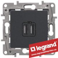 672694 Розетка USB Legrand Etika для зарядки двойная (антрацит)