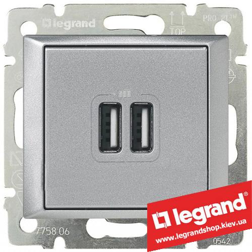 770270 Розетка USB Legrand Valena для зарядки двойная (алюминий)