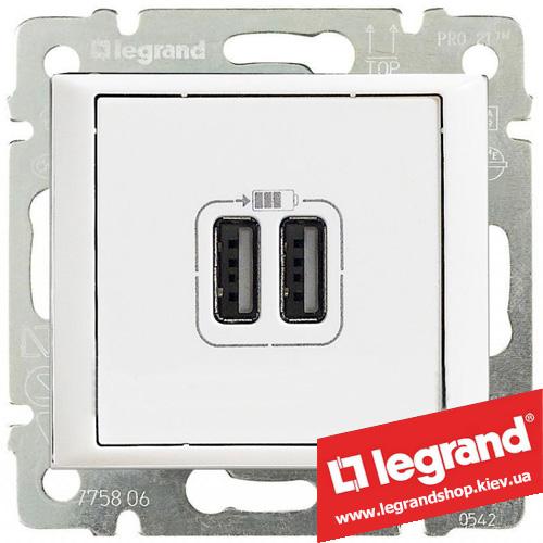 770470 Розетка USB Legrand Valena для зарядки двойная (белая)