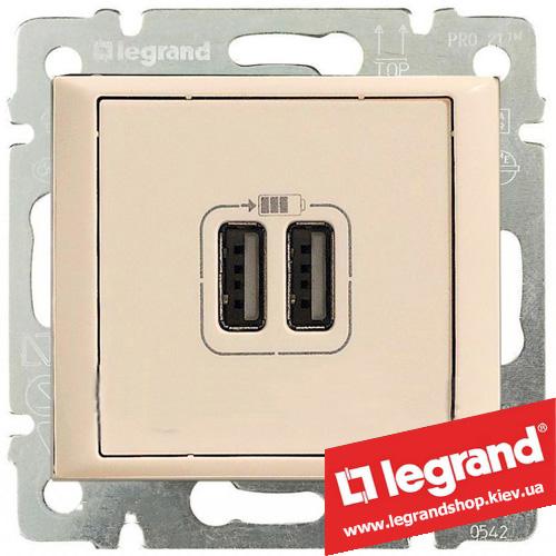774170 Розетка USB Legrand Valena для зарядки двойная (слоновая кость)