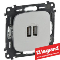 Розетка USB Valena Allure для зарядки двойная 754997 (алюминий)