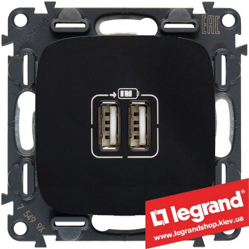 Розетка USB Valena Allure для зарядки двойная 754998 (антрацит)