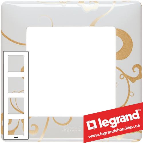 Рамка четырехпостовая Valena Life 754104 (ампир белый)