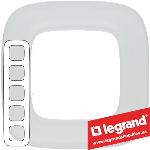 Рамка пятипостовая Valena Allure 755545 (белое стекло)